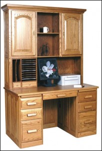 Amish Flat Top Solid Wood Computer Desk with Hutch
