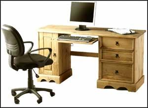 Double Pedestal Pine Computer Desk