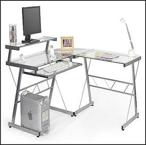 Elegant L Shaped Glass Computer Desk