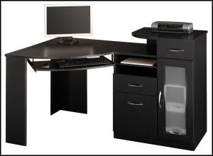 black computer desk with drawers