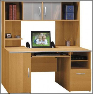 computer desk with hutch double shelves