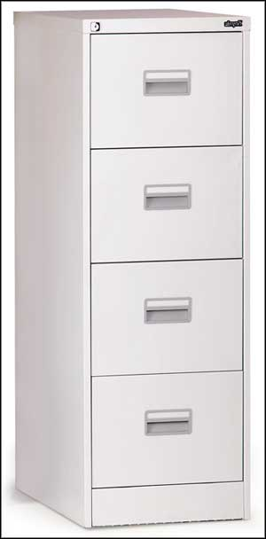 white 4 drawer metal file cabinet