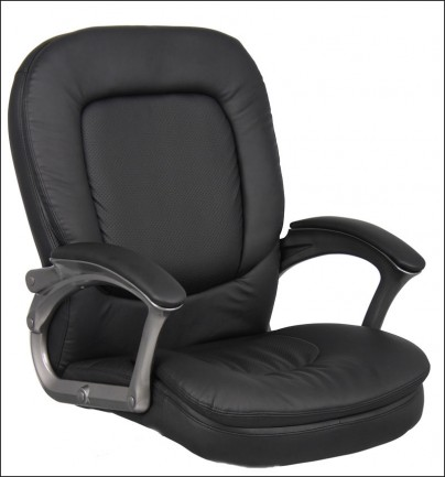 office seat black vinyl cushion leather