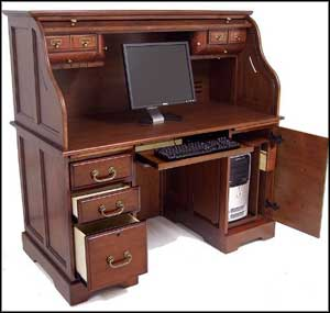 roll top computer desk cherry