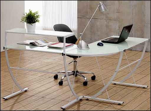 L-shape stainless steel contemporary laptop desk