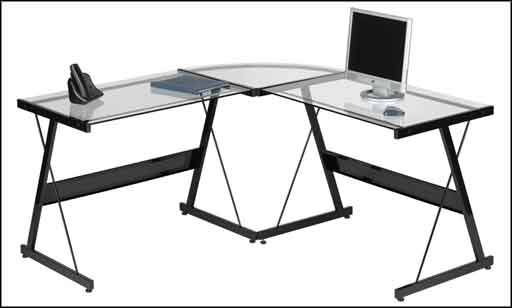 glass contemporary computer desk for office