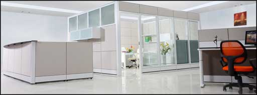 modern white simple office cubicle decorating ideas