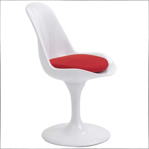 anile white dining chair with red cushion