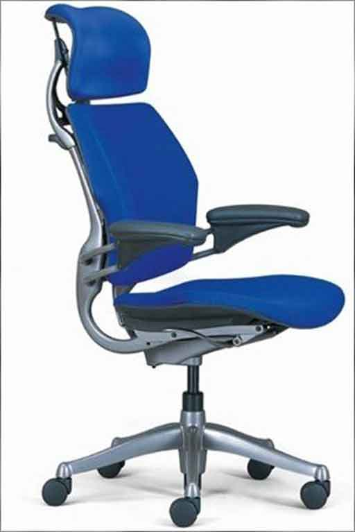 blue humanscale freedom office chair headrest