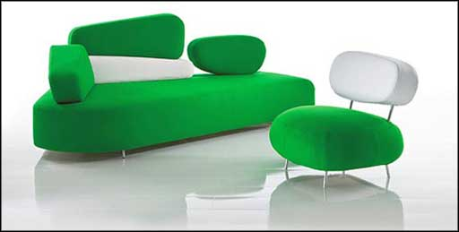 comfortable modern office sofas white green