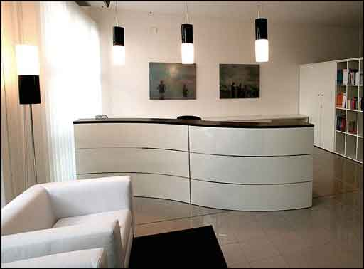 front reception desk elegeant white style