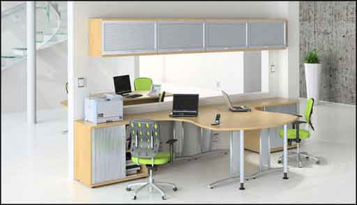 modern office with fresh workstation computer desk
