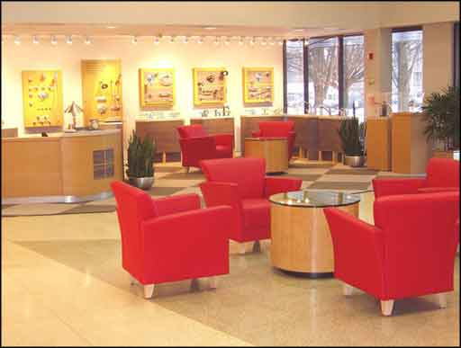 modern red office reception furniture