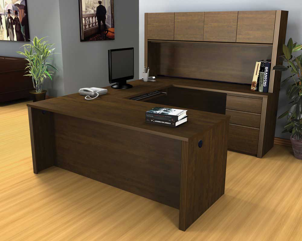 Bestar Wooden Office Furniture Hutch and U-Shaped Desk