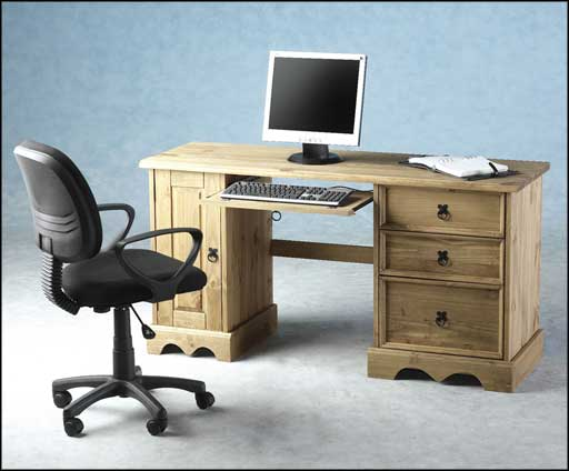 Genuine Corona Pine Computer Desk and Chair Collection