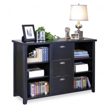 Kathy Ireland Tribeca Loft Black Wood Bookcase Home Filing Cabinet
