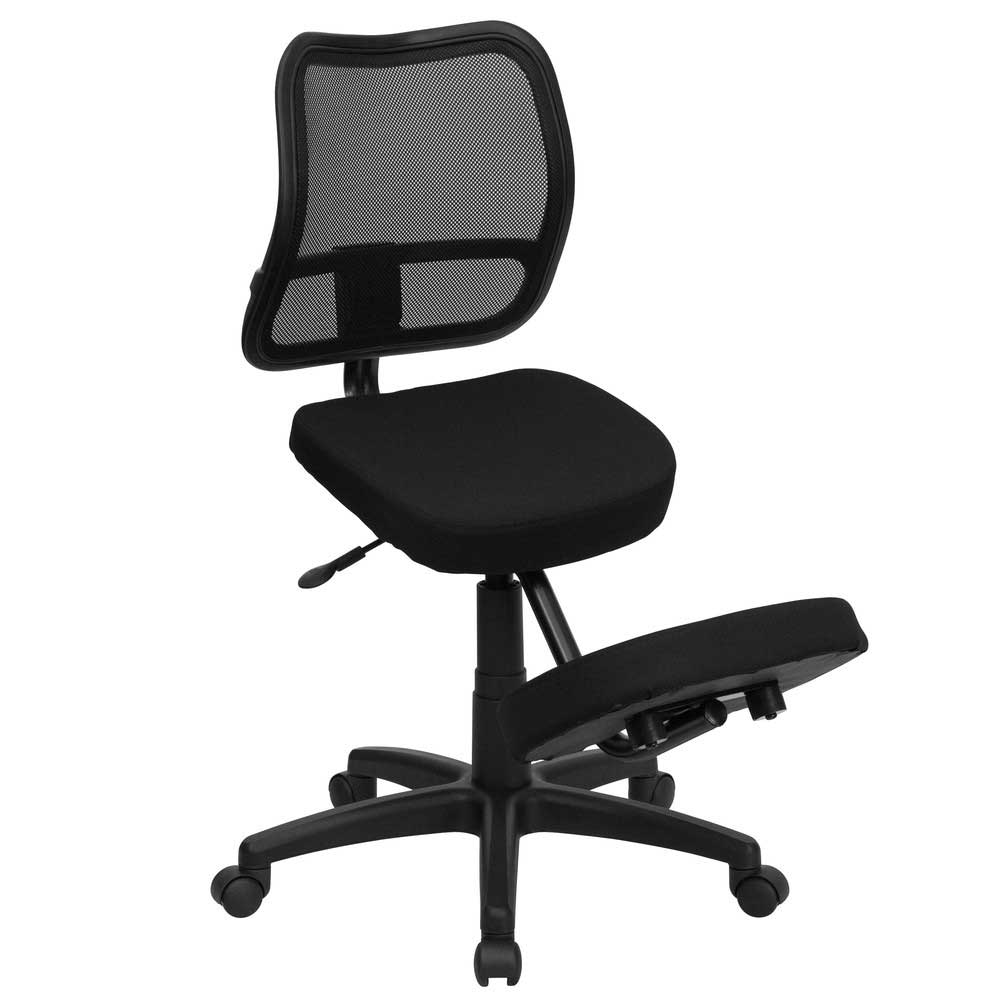 Black Fabric Back Mesh Ergonomic Kneeling Chair