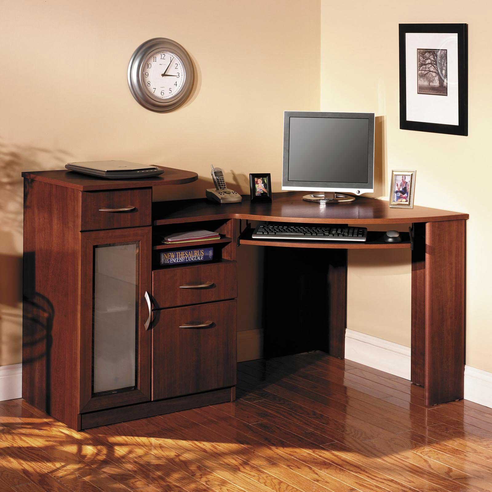 corner computer armoire | Office Furniture