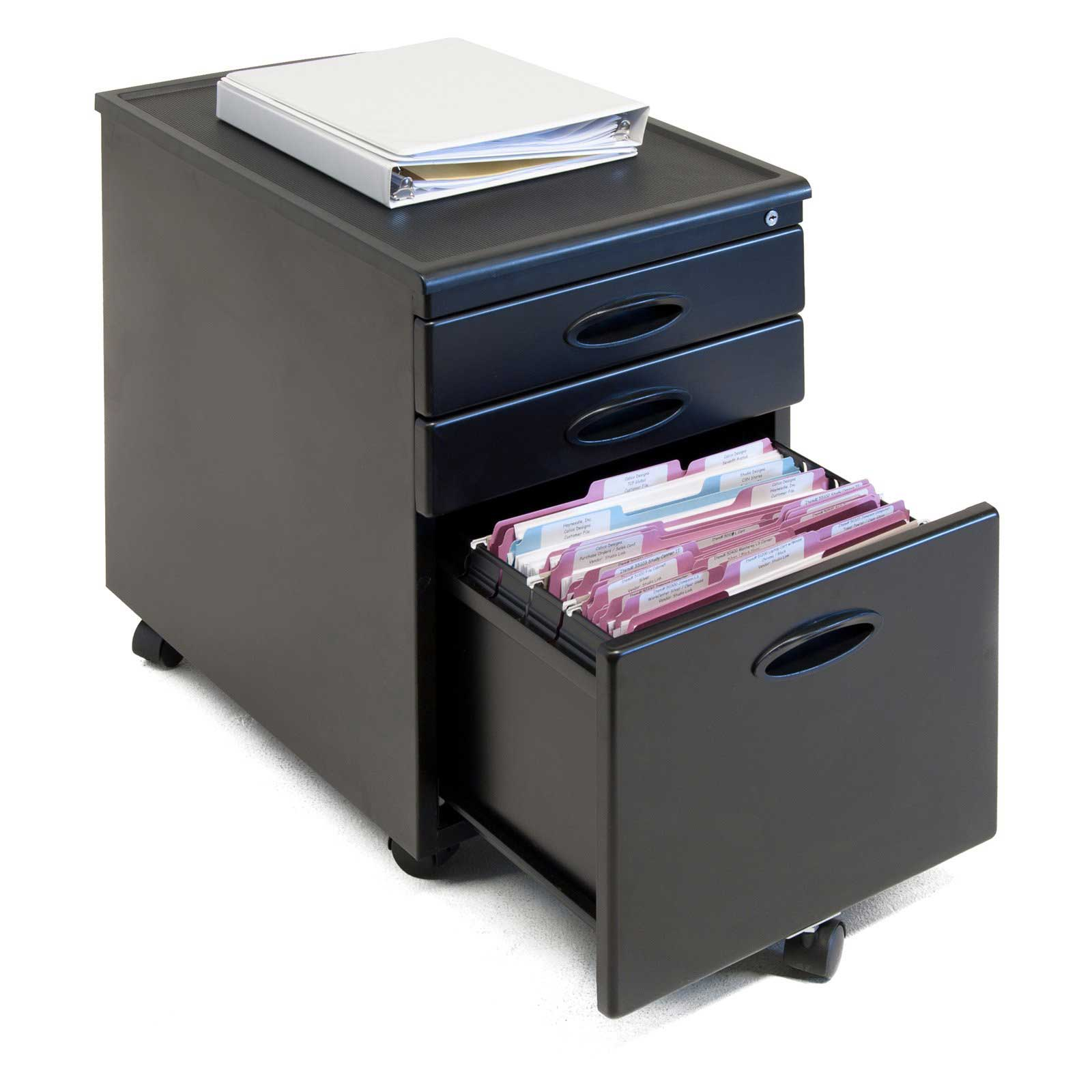 Center 3 Drawers Mobile Filing Cabinet
