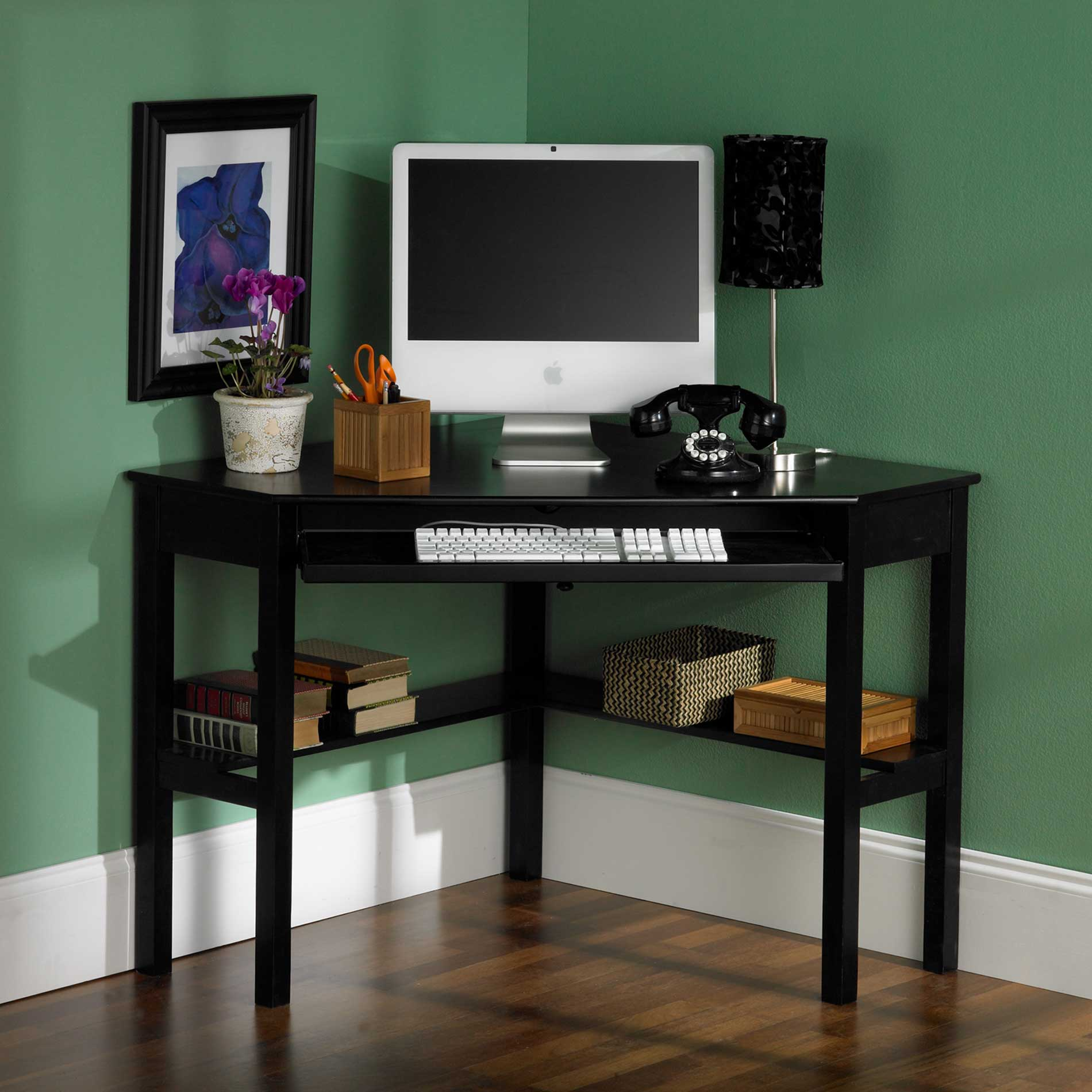 Small Black Corner Computer Desk 1900 x 1900