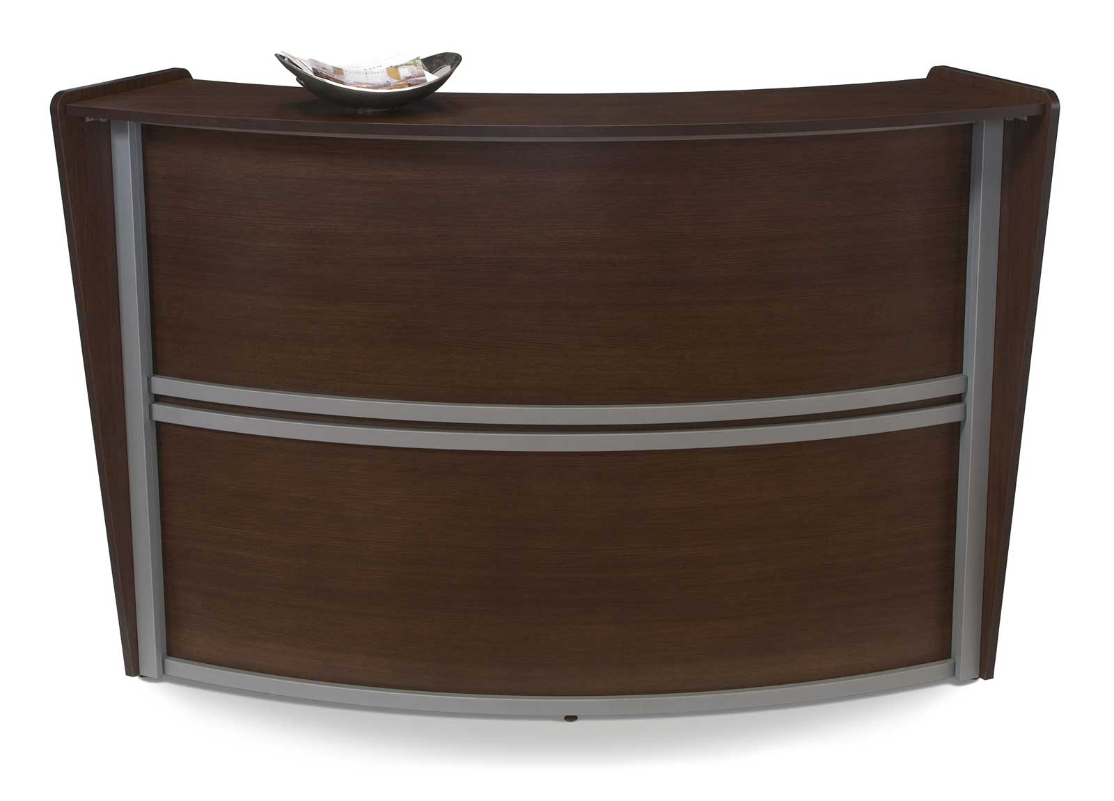 Single Walnut Stylish Reception Desk
