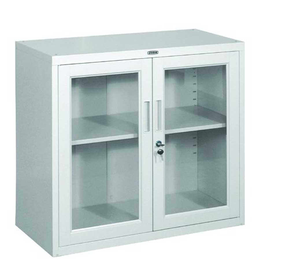 Steel glass door lockable filing cabinet