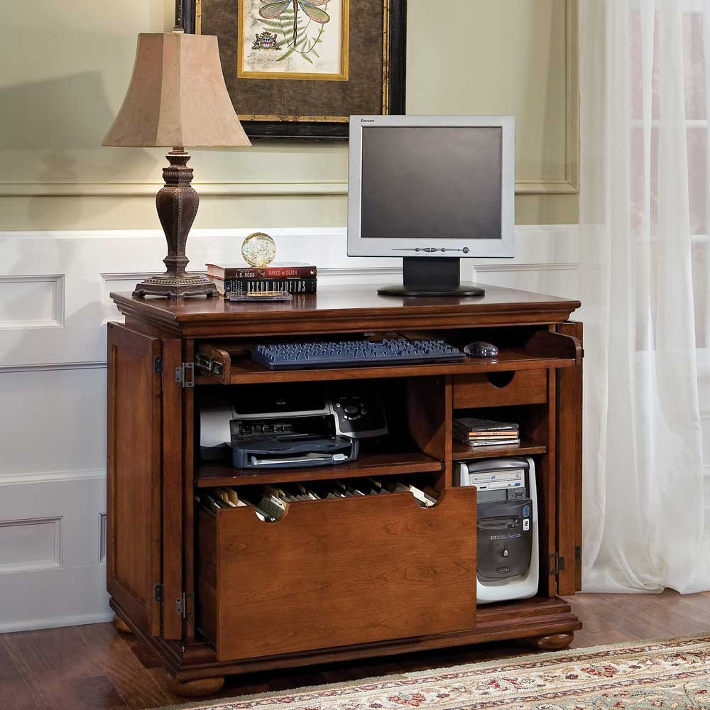 compact wooden home office computer armoire