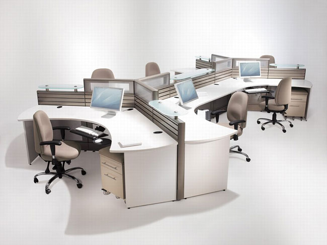 Efficient office furniture on pinterest cubicles modern for Office desk layout ideas