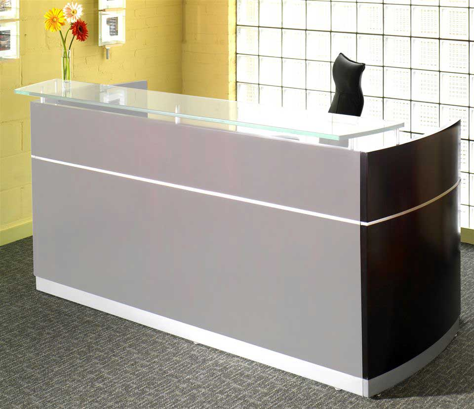 modern reception desks with glass