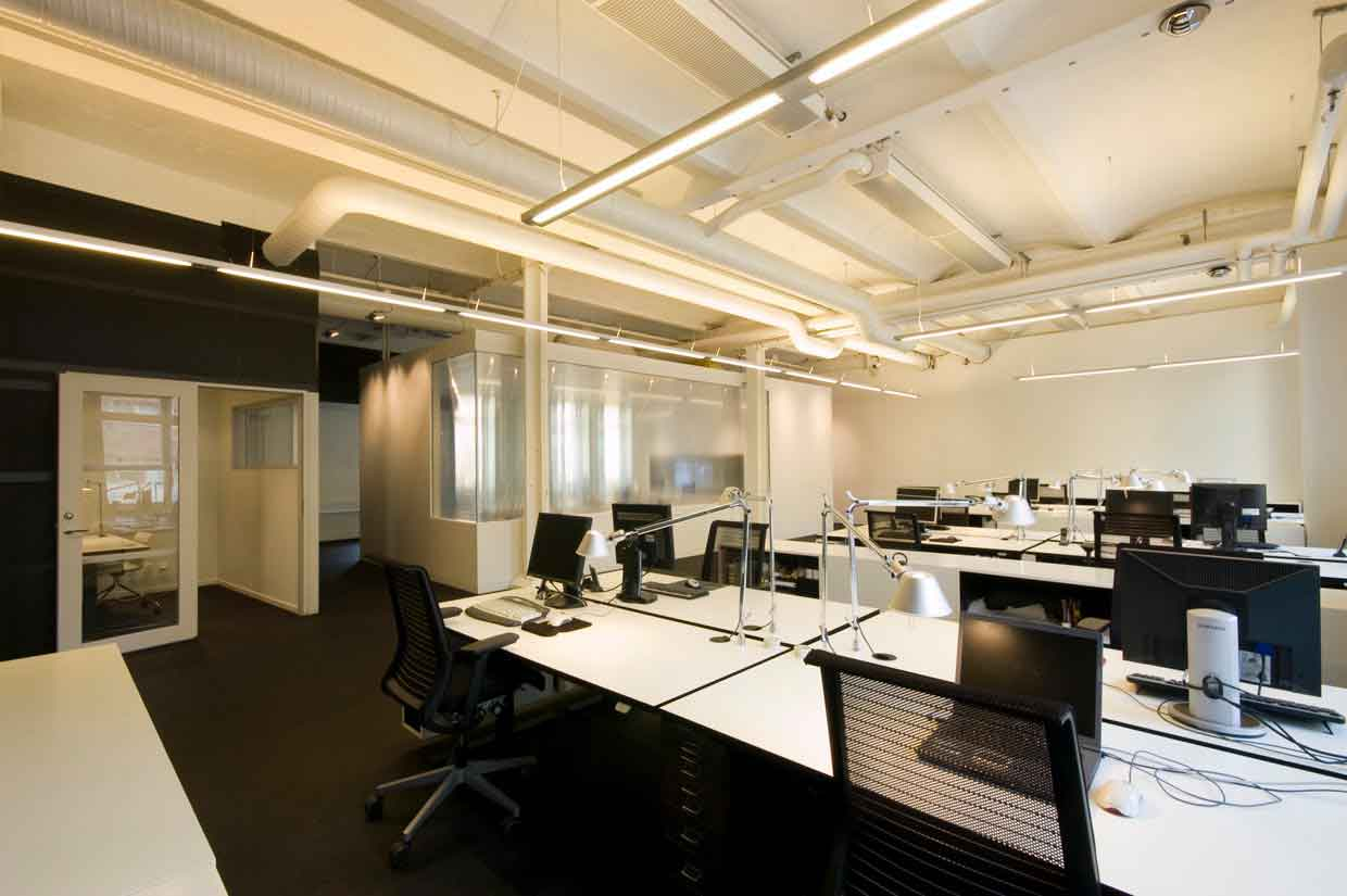 white and black modern office interior design
