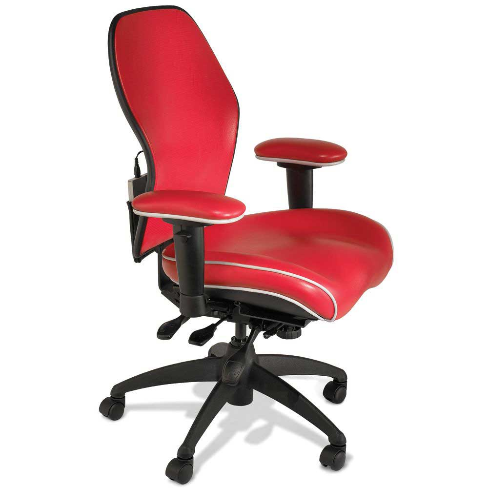 Adjustable red leather desk chairs