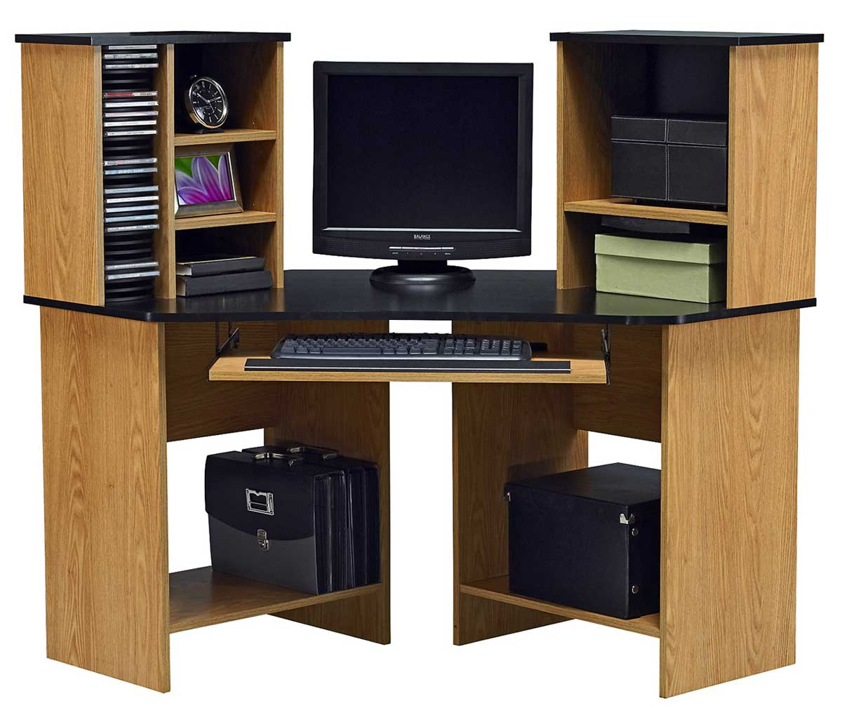 Ameriwood oak corner computer desks with hutch