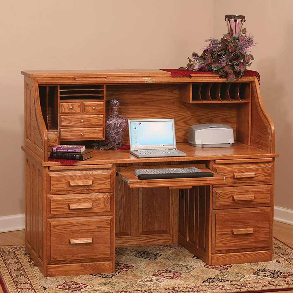 Amish Traditional Roll Top Computer Desk