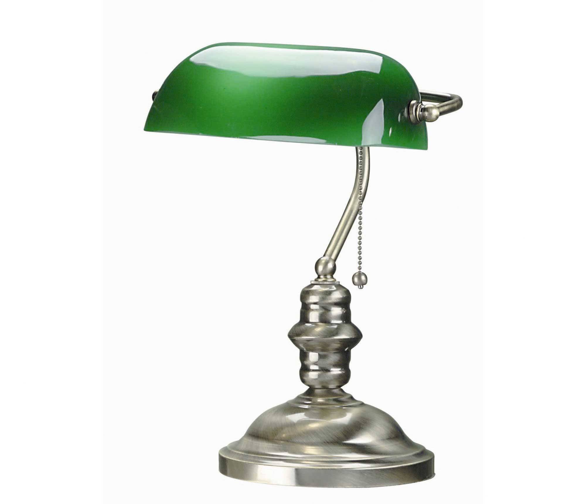 antique brass banker office lamp with green shade