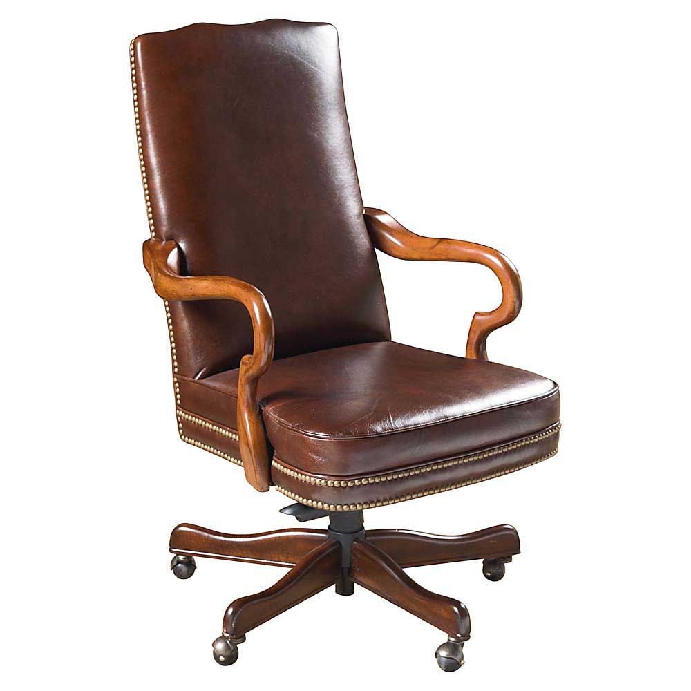 Leather desk chairs for office and home for Home office chairs leather