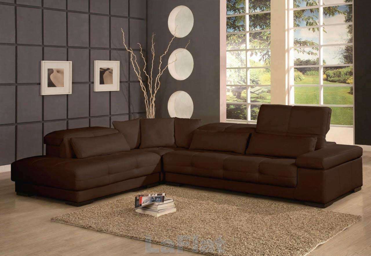 Bella Brown Sectional Leather Sofa