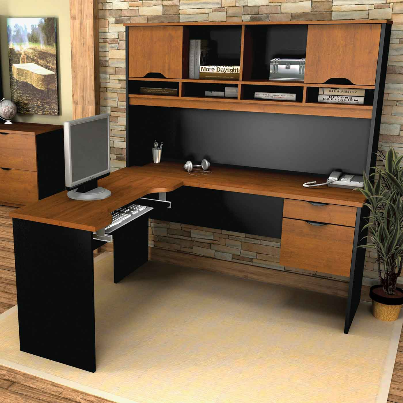 Bestar Innova Black and Brown L Shape Computer Tuscany Desk