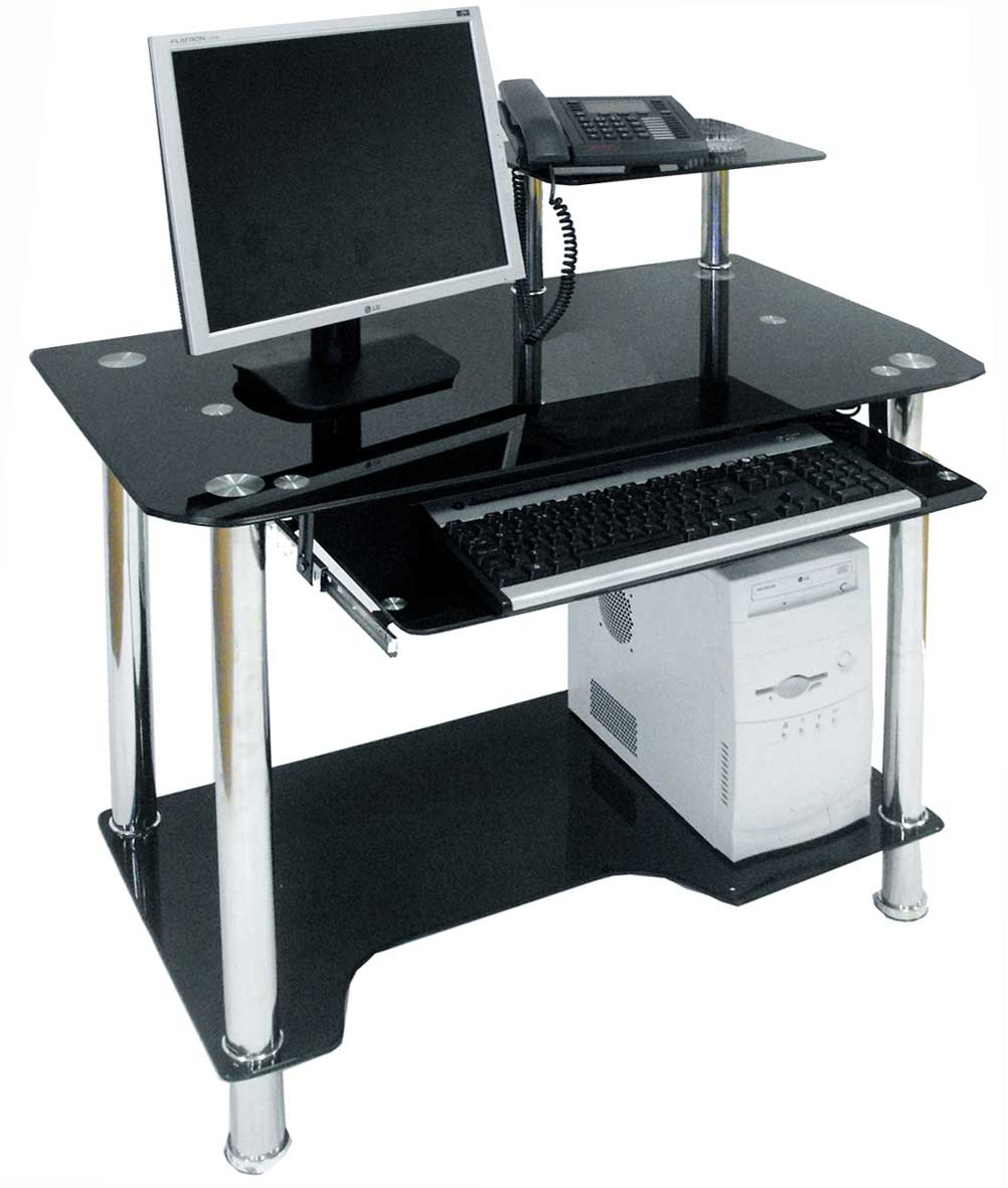 Black glass computer desk for home office Designer glass computer desk