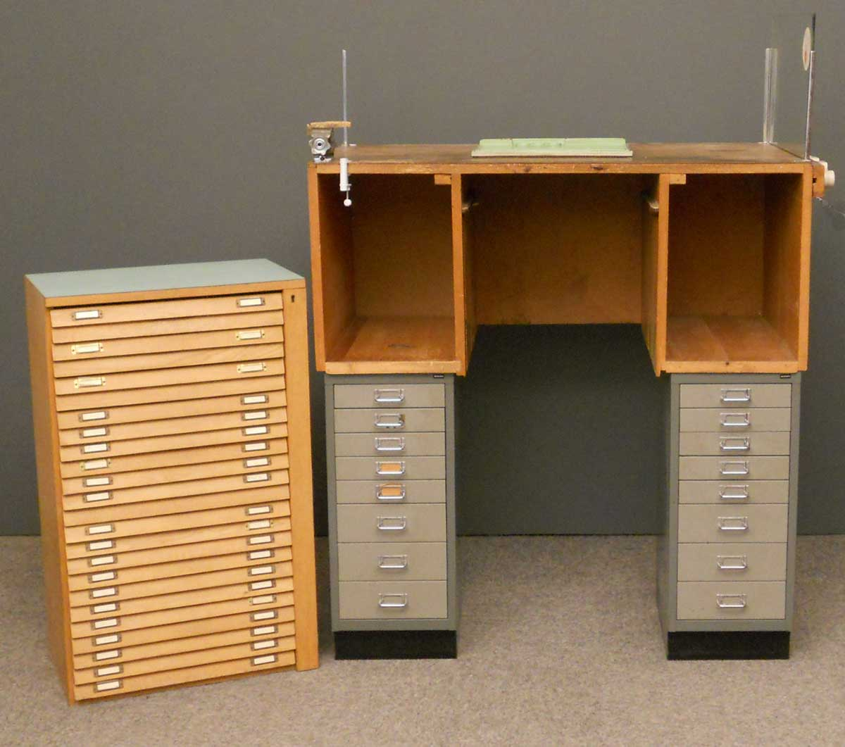 Bisley two low filing cabinets