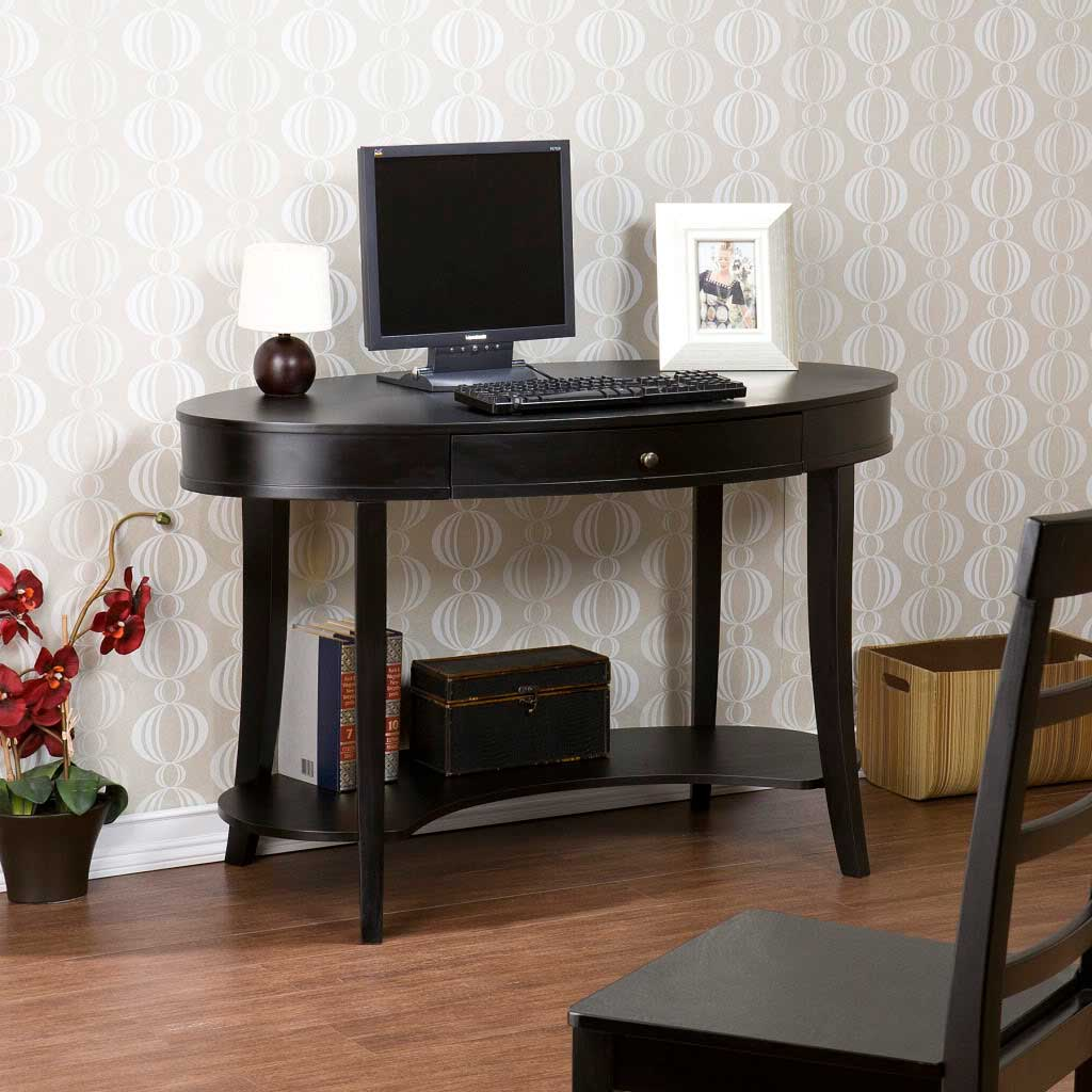 Black Computer Desk with One Drawer