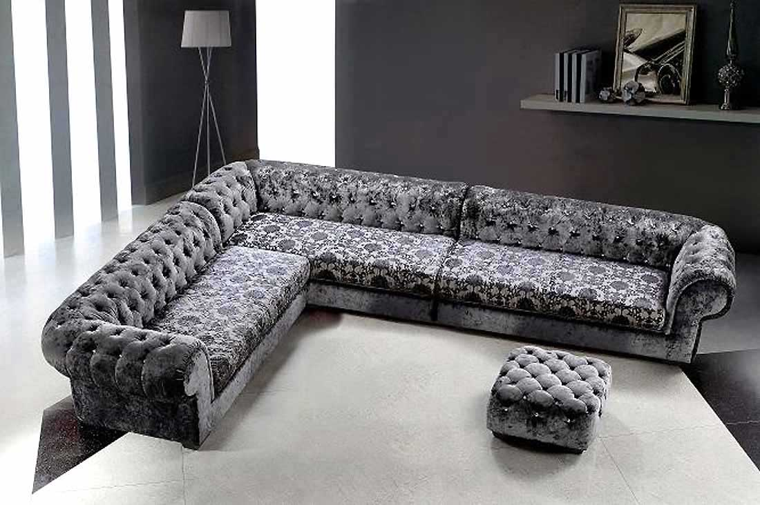 Black Grey Ottoman Micro Fiber Sectional Seat