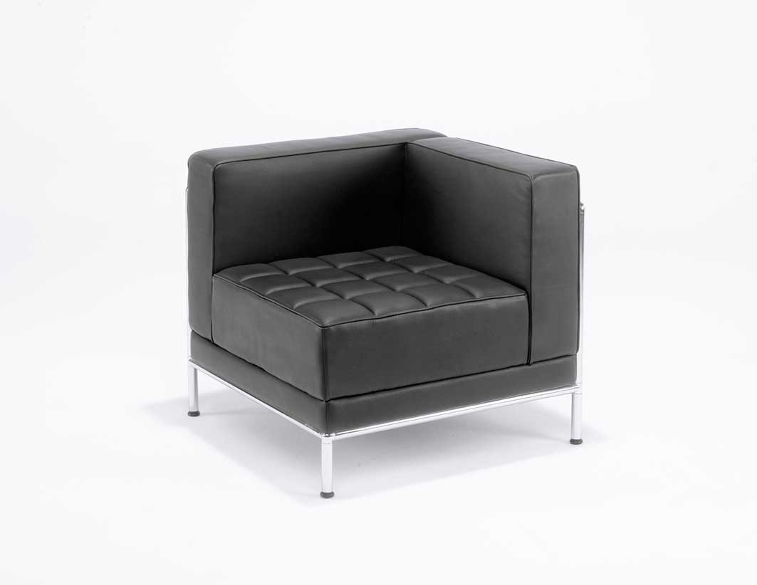Black leather ottoman office sofas design