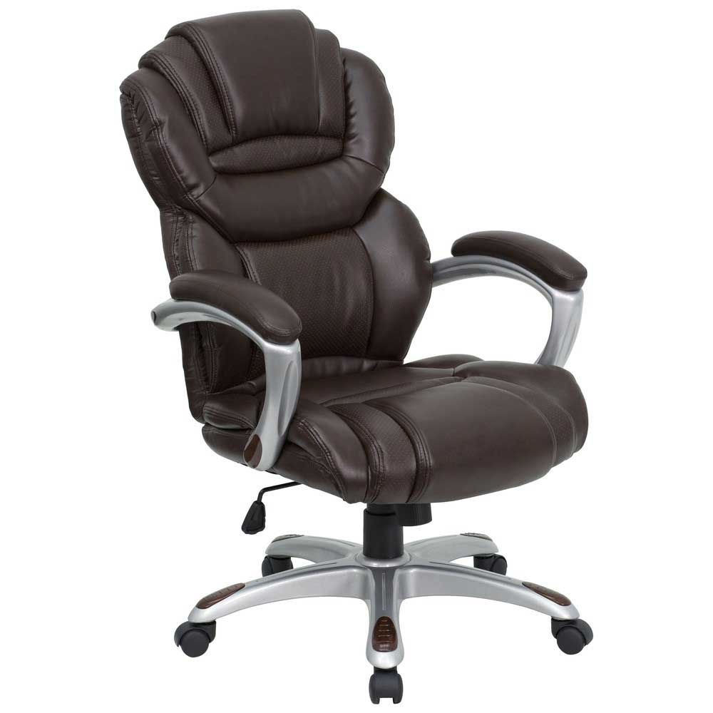 Brown Leather Executive Desk Chairs with Padded Arms