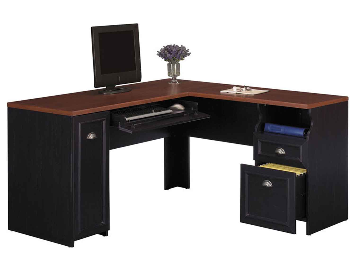 Bush Fairview Antique Hansen Cherry Black L-Shape Desk