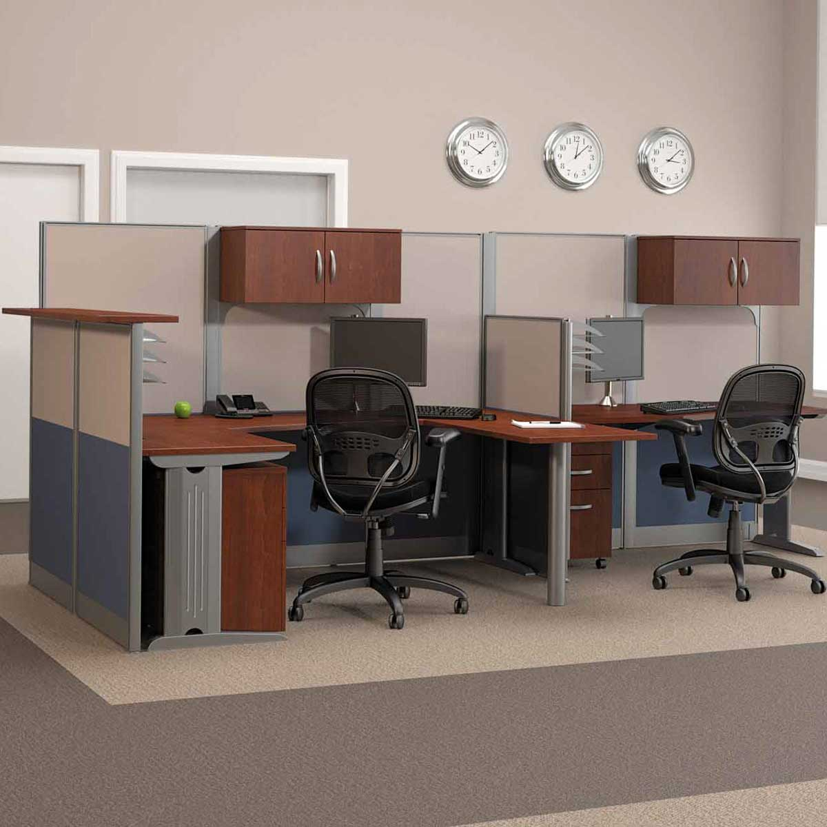 Bush Melamine Double U-Shaped Computer Desk Workstation
