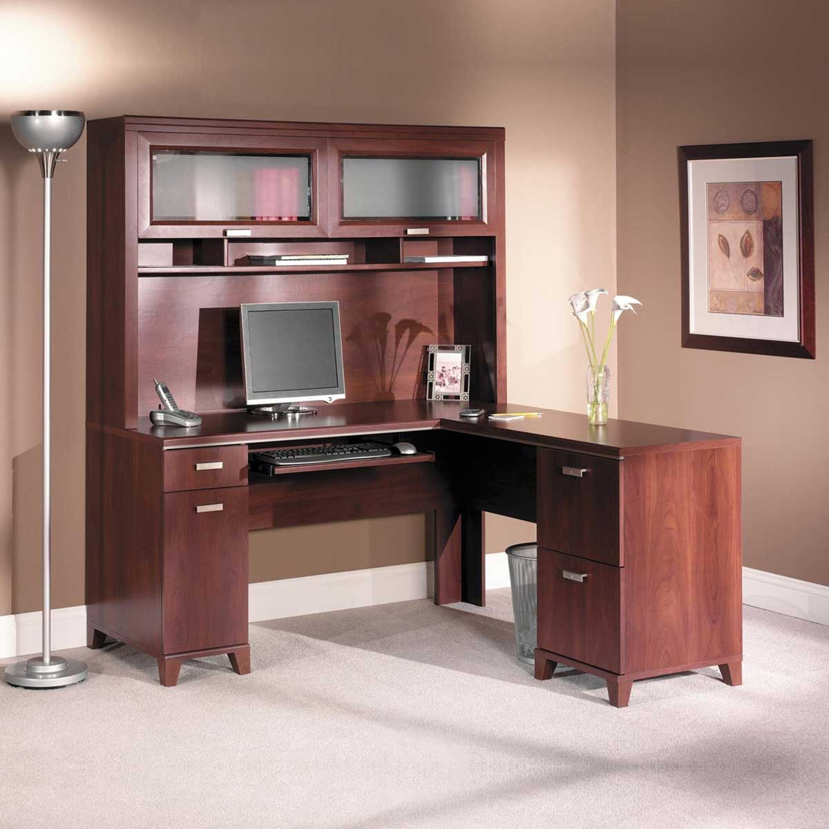 bush tuxedo solid cherry computer desk
