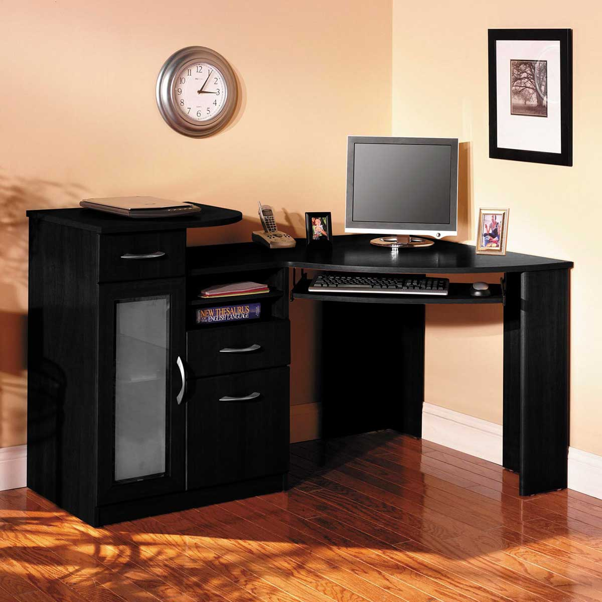 Bush vantage black corner computer desk