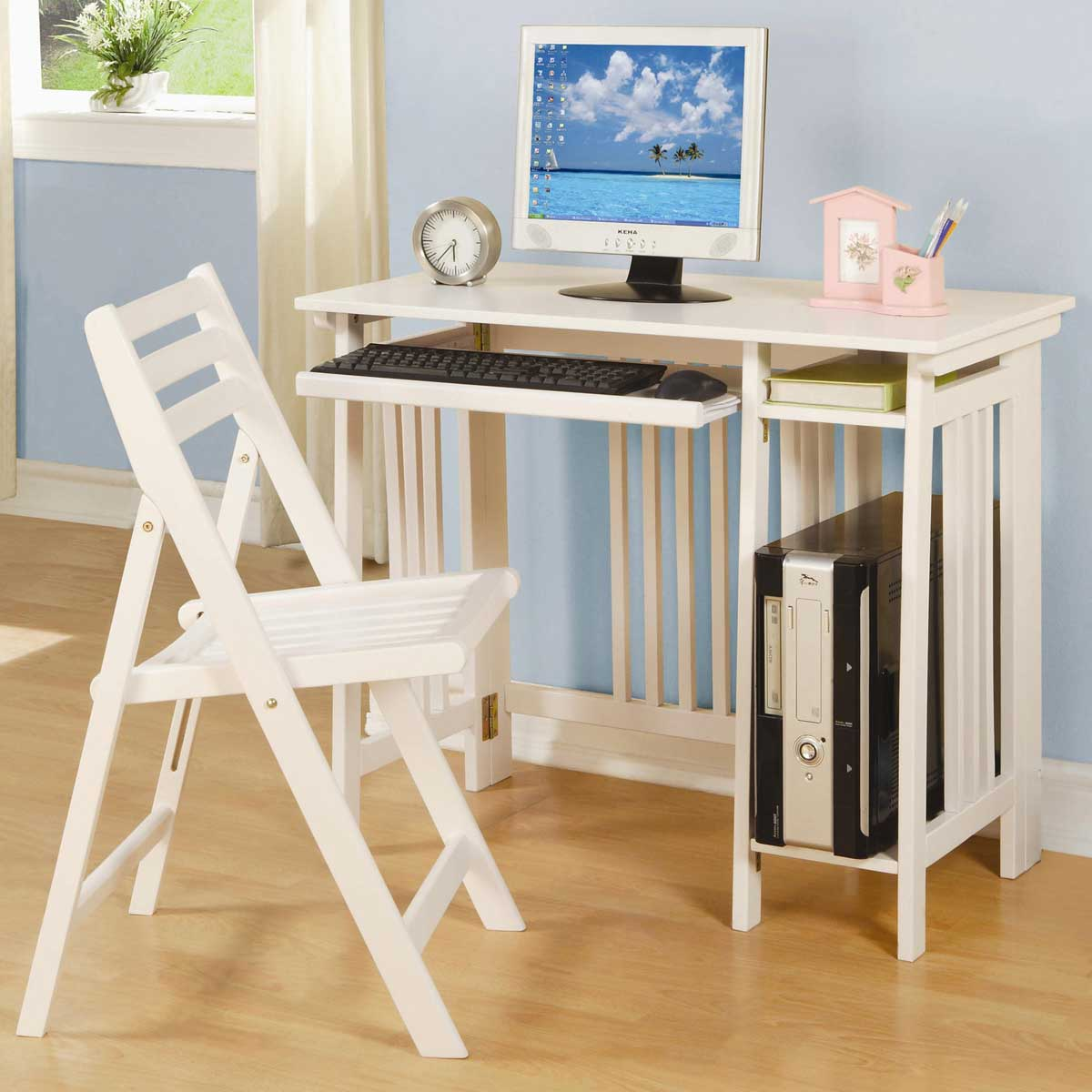 Casual White Folding Computer Desk with Chair