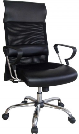 Deep black executive metal office chair with lumbar support
