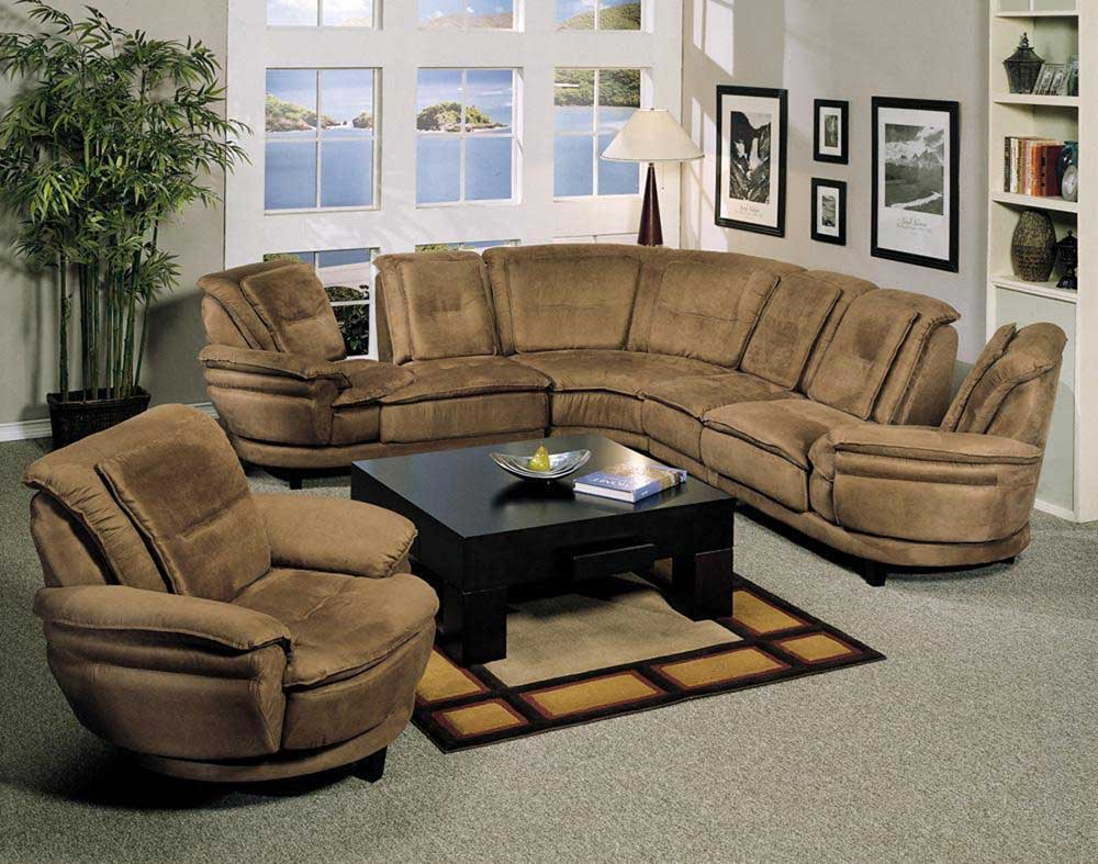Double Swivel Contemporary Brown Microfiber Sectional Sofas